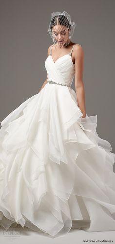 sottero midgley 2017 (blaire) sleeveless beaded straps sweetheart surplice pleated bodice tiered ball gown wedding dress mv