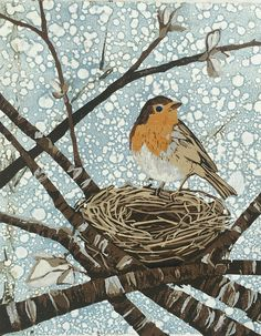 """English Robin, original woodcut on monoprint I'm delighted to add """"English Robin"""" to my Etsy shop. The European robin is so sweet and delicate. It was a pleasure to carve and print this color reduction onto a set of monoprints. Bird Artwork, Guache, Wildlife Art, Pet Birds, Collage Art, Graphic Illustration, Printmaking, European Robin, Drawings"""