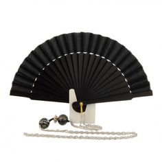 Abanico mini seda negro con cadena plata