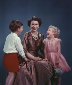 1954: Queen Elizabeth ll with Prince Charles and Princess Anne.