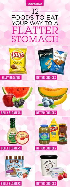 BEST FOODS FOR A FLAT STOMACH: Say goodbye to bloat by eliminating these foods and choosing these healthier options instead. Click through for a list of foods that cause bloating, constipation, fluid retention, gas, and other stomach problems. Plus, you'll find the best alternatives that will still satisfy cravings! Find more healthy eating ideas here and at Cosmopolitan.com.