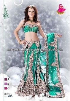 eab968594e6ab Exclusive green colored bridal lehenga  80~ 500
