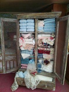 Dollhouse Miniature 1/12th OOAK Shabby Linen shelf