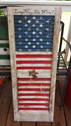 Patriotic hand painted shutter