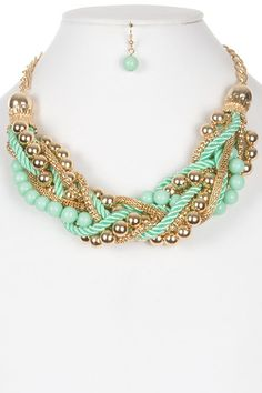 Braided Bead chain & Rope Necklace Set