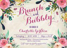 BRUNCH & BUBBLY INVITATION, Wine Invitation, Champagne Invitation, Bridal Shower Invitation, Watercolor Flowers Invite- sfc