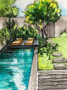 Landscape architecture drawing art design ideas for 2019 - Drawing Still 2020 Architecture Design Concept, Landscape Architecture Portfolio, Landscape Architecture Drawing, Architecture Sketchbook, Landscape Sketch, Landscape Drawings, Architecture Plan, Landscape Designs, Landscape Art