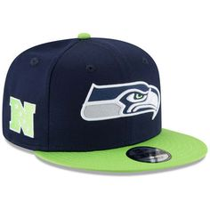 finest selection 0e4c2 03e90 New Era Seattle Seahawks Baycik Snapback Hat - College Navy Neon Green