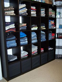 Laundry Organization - I would love to do this in my basement laundry room and have clothes racks just so I wouldn't have to haul everything upstairs and put away in drawers and closets!