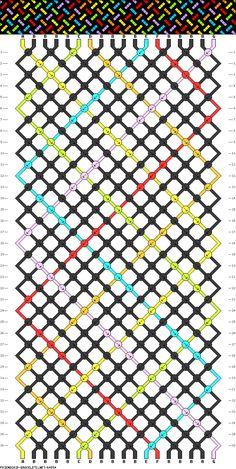 18 strings, 36 rows, 7 colors new Diy Bracelets Patterns, String Bracelet Patterns, Thread Bracelets, Diy Bracelets Easy, Embroidery Bracelets, Bracelet Crafts, Braided Bracelets, Bracelet Designs, Diy Friendship Bracelets Patterns