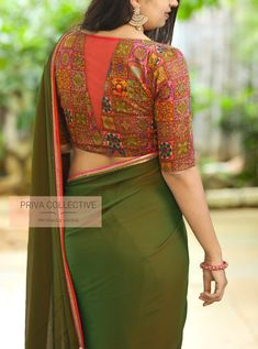 PV 4250 : Multicolour and Green.Bring home this simple yet traditionally beautiful two toned green sari finished with orange and pink bordersUnstitched blouse piece : Multicolour blouse piece as in the pictureFor Order 29 August 2019 Simple Blouse Designs, Saree Blouse Neck Designs, Stylish Blouse Design, Bridal Blouse Designs, Design Of Blouse, Designer Blouse Patterns, Green Sari, Modern, Pink