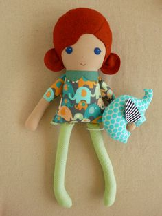 Fabric Doll Rag Doll Red Haired Girl with Stuffed by rovingovine, $38.00