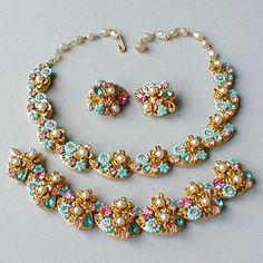 Vintage Costume Jewelry | glitterbug vintage jewelry vintage demi parure necklace bracelet ...