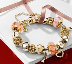 Pandora - gold with coral