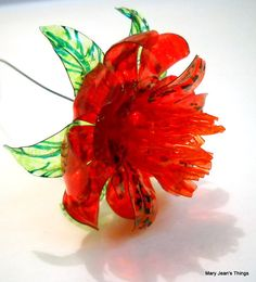 Red Fantasy Flower Upcycled from Plastic Water by MaryJeansThings, $10.00