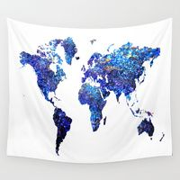 Wall Tapestries featuring World Map blue purple by haroulita