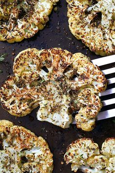 Few ingredients, big payoff! These cauliflower steaks are brushed with a mixture of olive oil and italian herbs, then roasted in the oven to crisp-tender perfection. Serve them with a smokey barbec. Roasted Cauliflower Steaks, Oven Roasted Cauliflower, Cauliflower Recipes, Cauliflower Cheese, Cauliflower Casserole, Broccoli Cauliflower, Vegetable Dishes, Vegetable Recipes, Vegetarian Recipes