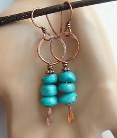 Turquoise dangle earrings wire earrings boho earrings boho