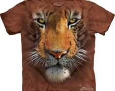 Tiger Face T-shirt Great Christmas Gift Big animal face Tie Dye washed Shirts S-3XL