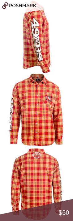 XL San Francisco 49ers Button Up Long Sleeve •NEW WITH TAGS!! •UNOPENED •Wordmark Flannel Button-Up  •Long Sleeve T-Shirt from Klew  •Authentic NFL Team Apparel NIP Klew Shirts Casual Button Down Shirts