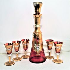 Cranberry Gilded Decanter With 5 Glasses   Enameled with Gold