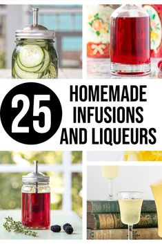 25 of the most tempting homemade liqueur recipes and homemade infusions. Infused vodka, gin, tequila, bourbon and rum. Luscious liqueurs like dark cherry, ginger and our most popular Winter Solstice Brew. Make great gifts! Homemade Liqueur Recipes, Homemade Alcohol, Homemade Liquor, Vodka Recipes, Coctails Recipes, Alcohol Drink Recipes, Homemade Gifts, Infused Tequila Recipe, Infused Vodka