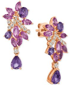 Le Vian® Precious Collection Multi-Sapphire (4-3/4 ct. t.w.) and Diamond (3/8 ct. t.w.) Drop Earrings in 14k Rose Gold