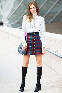 Join the mod squad in knee-high boots and colorful mini skirt.