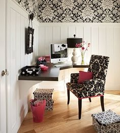 Black and white office space with touches of pink.  Mine needs more storage space and cabinets.  Like the prints.
