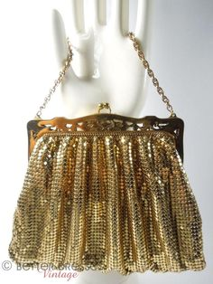 40s Whiting and Davis Gold Metal Mesh Purse