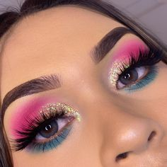 Pink Eye Makeup, Makeup Eye Looks, Colorful Eye Makeup, Eye Makeup Art, Glitter Makeup, Cute Makeup, Glam Makeup, Pretty Makeup, Skin Makeup