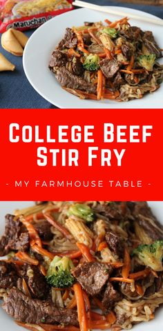 College Beef Stir Fry Tender lean beef loaded with veggies and combined with Ramen noodles. Quick and easy weeknight meal