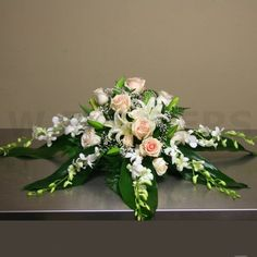 W Flowers product: Casket Spray with White Orchids Grave Flowers, Cemetery Flowers, Church Flowers, Funeral Flowers, Wedding Flowers, Casket Flowers, Funeral Floral Arrangements, Easter Flower Arrangements, Flower Centerpieces