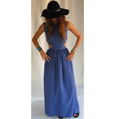 Blue long handmade dress with back out - Handmade in Greece by venividivicki on Etsy https://www.etsy.com/listing/256104898/blue-long-handmade-dress-with-back-out