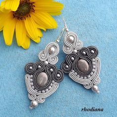 Beautiful Soutache earrings .Length about 6,5cm. With beautiful beads. Ready to ship on 1-2 days.