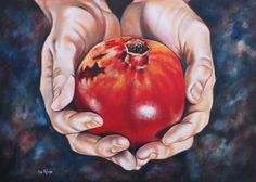 Painting - The Fruit Of Jesus' Sacrifice II by Ilse Kleyn , Pictures For Sale, Art Pictures, Jewish Art, Religious Art, Pomegranate Art, Jesus Sacrifice, Spoke Art, Prophetic Art, Fruit Painting