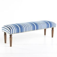 Kilim Bench - Blue Stripe! $599, although you could DIY this with a Dash and Albert rug for way less