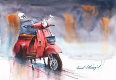 "Saatchi Art Artist Cemal Selimgil; Painting, ""Scooter"" #art"