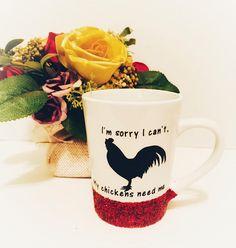 Chicken Coffee Mug Rooster Coffee Mug Glitter Dipped Mug My