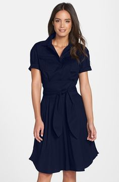 This tie-waisted fit & flare is great for emphasizing an hourglass figure. Cynthia Steffe 'Maya' Tie Waist Fit & Flare Shirtdress available at #Nordstrom. For more body shape and style tips, go to Styletruist.com!