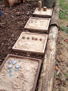 Clay plant bases filled with sand, log edging, mulch Outdoor Box, Kids Outdoor Play, Outdoor Play Areas, Outdoor Ideas, Natural Playground, Backyard Playground, Playground Ideas, Outdoor Learning Spaces, Sand Play