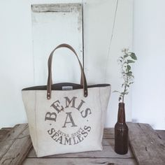 Tote bag made from a reclaimed 1940's feed sack, A Well Worn Story