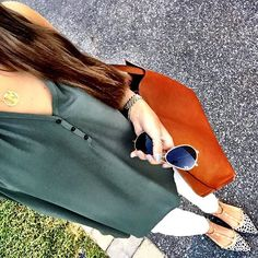 IG @mrscasual <click through to shop this look> Army green lush tank.  white maternity skinny jeans.  Halogen dotted calf hair studded flats.  Cognac reversible tote bag.  Ray Ban aviators.