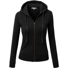 J.TOMSON Womens Thin Zip-Up Long Sleeve Hoodie ($25) ❤ liked on Polyvore featuring tops, hoodies, hooded zip up sweatshirt, thin hoodie, zip up hoodie, hoodie top and zip up hoodies