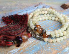 Beautiful malachite gemstone mala necklace by look4treasures