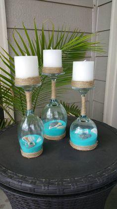 Conchiglie e sabbia vino portacandele in vetro