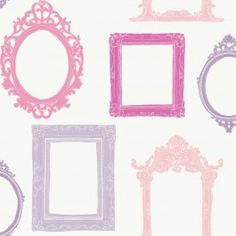 YS9340 Fancy Frames from Peek-a-Boo is a white wallpaper with pink and purple picture frames.
