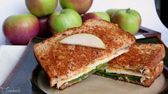 Cheddar-Apple-Spinach Grilled Cheese - Totally delicious.  Good with a bit of honey mustard added too. (Oscar's Sandwiches)