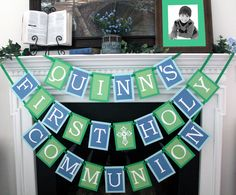 First Holy Communion banner -- This banner is done in blue and green for a boy. Seller can do whatever colors you need for a boy or girl. Etsy store: CraftyDaysLikeThis. Also on Facebook!