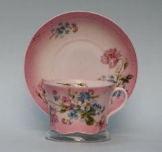 Antique Russian Porcelain Floral Cup and Saucer by Gardner factory circa 1850